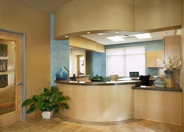 Brightly lit reception area